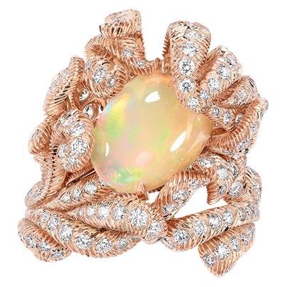 - Dior Petit Panache Opal ring - 750/1000 pink gold, diamonds and light orange opal - Ref.: JPLM93001