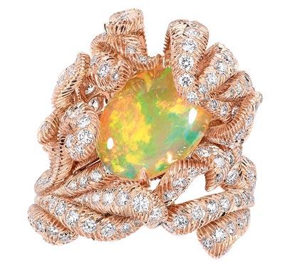 - Dior Petit Panache Opal ring - 750/1000 pink gold, diamonds and light orange opal - Ref.: JPLM93002
