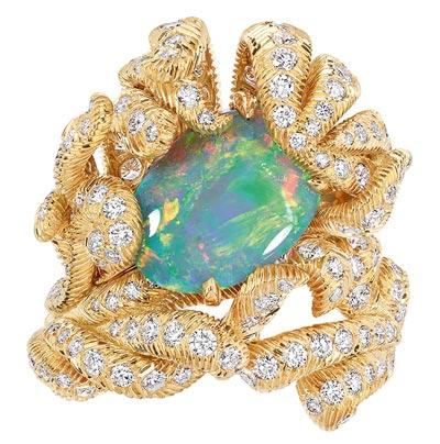 - Dior Petit Panache Opal ring - 750/1000 yellow gold, diamonds and black opal - Ref.: JPLM93004