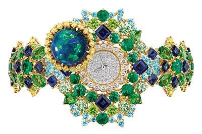 Dior Captivante Opal High Jewellery Timepiece  750/1000 yellow and white gold, diamonds, tsavorite garnets, sapphires, emeralds, black opal, demantoïd garnets, Paraiba-type tourmalines and yellow diamonds Quartz movement - Ref.: JOLY93028