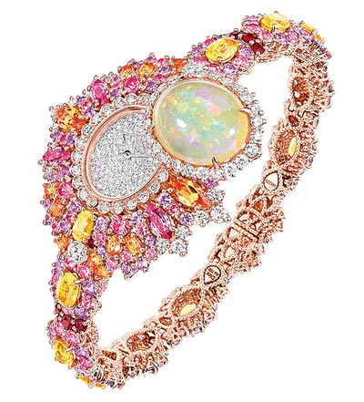 Dior Exquise Opal High Jewellery Timepiece  750/1000 pink and white gold, diamonds, pink sapphires, yellow sapphires, light opal, spessartite garnets, purple sapphires and rubiesQuartz movement - Ref.: JOLY93023