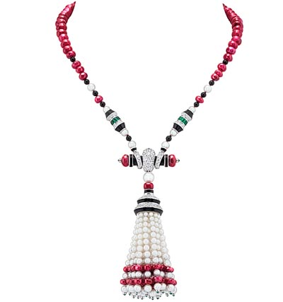 Oiseau sur la Branche long necklace - White gold, yellow gold, emeralds, rubies, blue and pink sapphires, onyx, white cultured pearls, 240 ruby beads for a total of 567.14 carats - Burma. Transformable long necklace.
