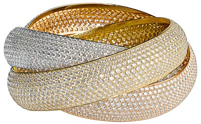 Cartier Trinity, l'originelle - Bracelet Trinity XXL 3 ors pavé diamants (2 727 diamants / 126 carats)
