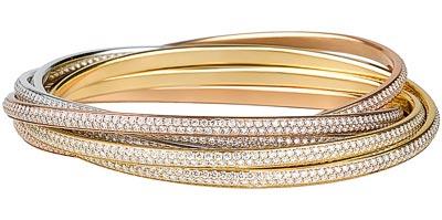 Cartier Trinity, l'originelle - Bracelet Two for Trinity 6 anneaux - 3 ors pavé diamants (1 440 diamants / 18 carats)
