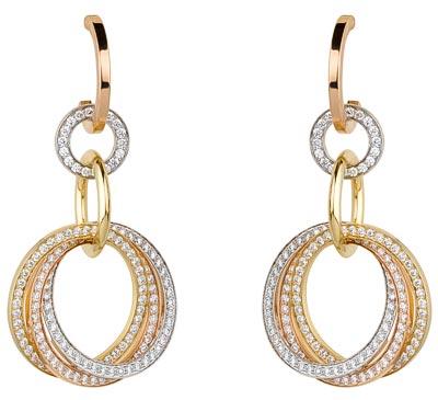 Cartier Original Trinity - Pendants d'oreilles Trinity Crash 3 ors pavés diamants (294 diamants / 1.50 carat)
