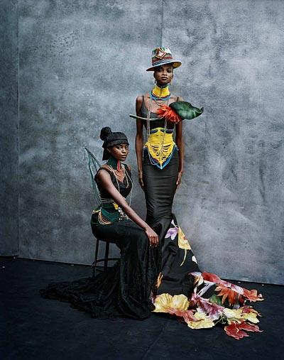 - Peter Lindbergh, Kusudi and Kitu dresses, Spring-Summer 1997 Haute Couture collection, models Kiara Kabukuru and Debra Shaw.<br>© Peter Lindbergh.