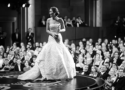 - Christopher Polk, Jennifer Lawrence receiving the Academy Award for Best Actress for her role in Silver Linings Playbook, 2013 <br>© Gettyimages / Christopher Polk.