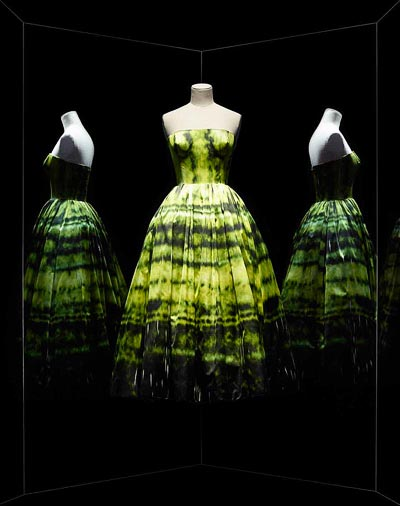 - Raf Simons for Christian Dior, Haute Couture, Fall-Winter 2012 3/4-length yellow duchess satin evening dress withSterling Ruby SP178 shadow print, Paris, Dior Héritage. <br>© Photo Les Arts Décoratifs / Nicholas Alan Cope.