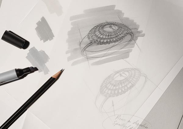 Design is the feeling, the intuition that inspires an object of beauty. There is no substitute for a hand-drawn design.