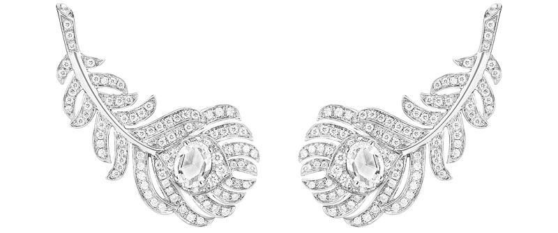 - Boucheron Plume de Paon ear clips, set with two rose-cut diamonds and paved with diamonds, in white gold