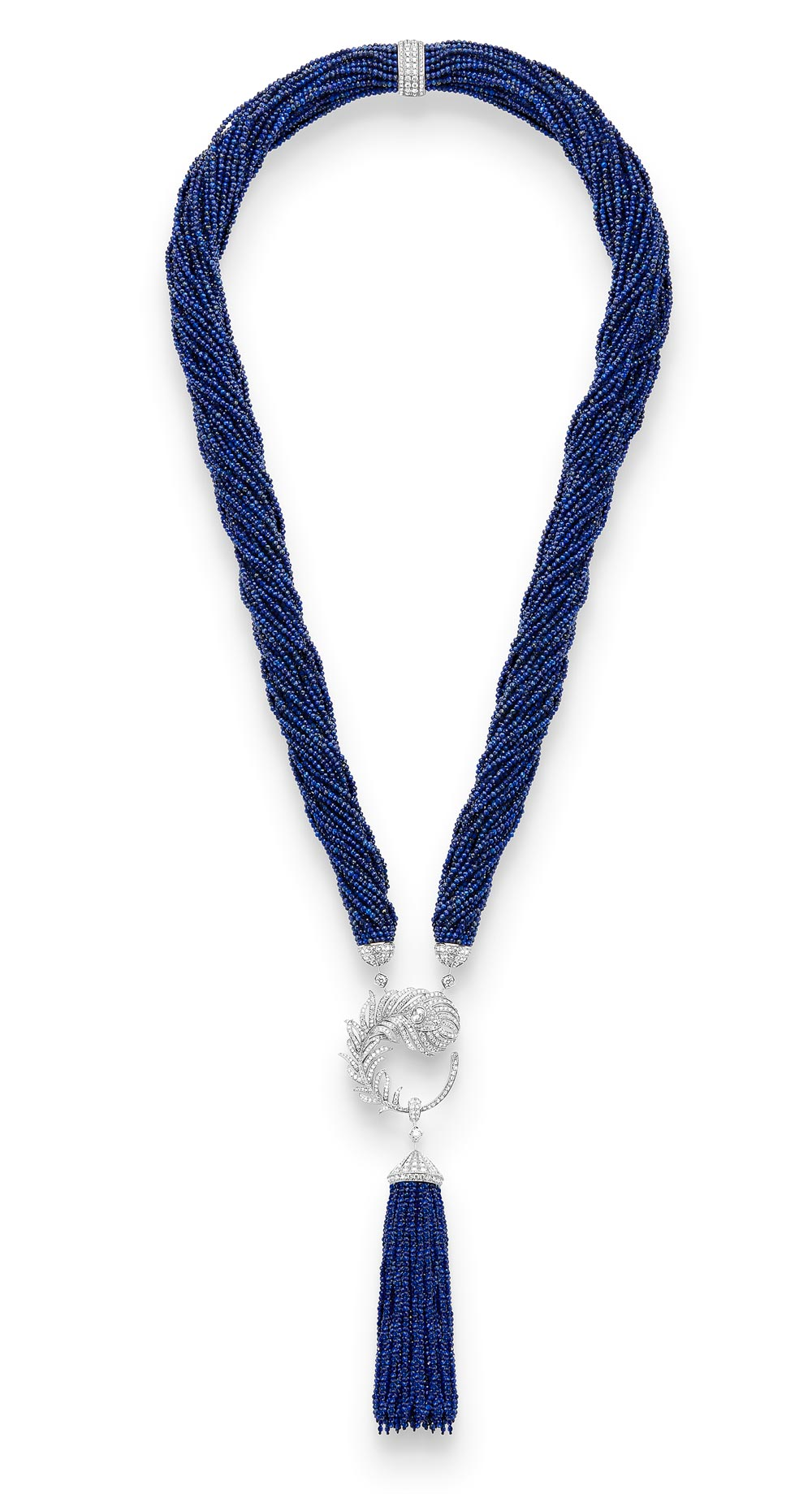 - Boucheron Plume de Paon long necklace, set with an oval rose-cut diamond and lapis lazuli, paved with diamonds, in white gold