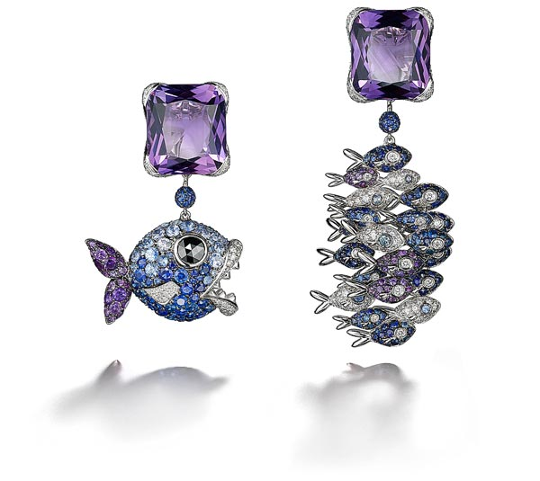 Melody of Colours de Grisogono earringsEarrings in 18K white gold set with 2 cushion-cut amethyst (24.10 Ct), 450 white diamonds (2.50 Ct),282 blue sapphires (6.86 Ct), 55 amethysts (1.10 Ct) and 1 black diamond (0.37 Ct)