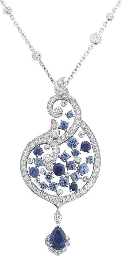 Protection des mers pendant: Pear-shaped sapphire of1.46 carats (Sri Lanka), sapphires, diamonds. © Van Cleef &Arpels
