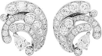 Écume diamants earrings: Motifs d'oreilles avec pendants détachables Écume diamants, deux diamants poire de 7,05 et 7,08 carats (DIF), diamants. © Van Cleef &Arpels