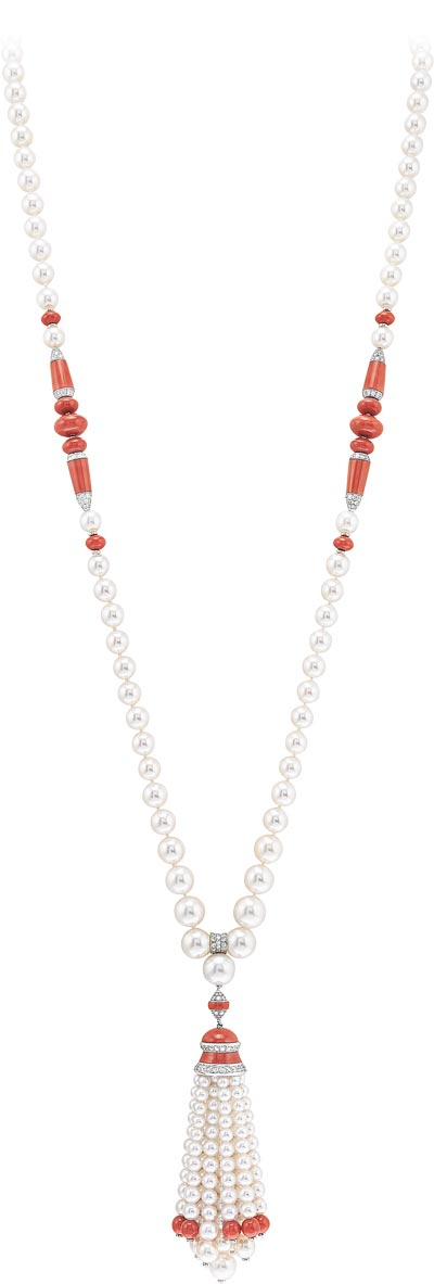 Dahlak long necklace: White cultured pearls, coral, diamonds. © Van Cleef &Arpels