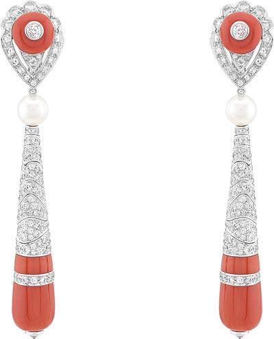 Dahlak earrings: White cultured pearls, coral, diamonds. © Van Cleef &Arpels