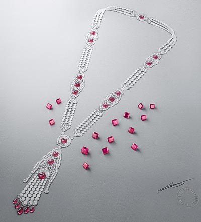 Kizil long necklace: White gold, pink gold, round, square-cut, baguette-cut and pear-shaped diamonds, white cultured pearls, white mother-of-pearl, rubellite drops, 15 square-cut rubellites for atotal of45.09 carats. © Van Cleef &Arpels
