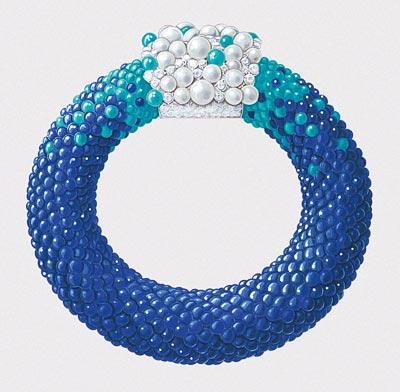 Rouleau Azur bracelet: Gouaché