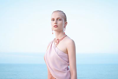 Flamant corail necklace: © Van Cleef &Arpels - Photo by Sonia Sieff – Dress by Gaspard Yurkievich