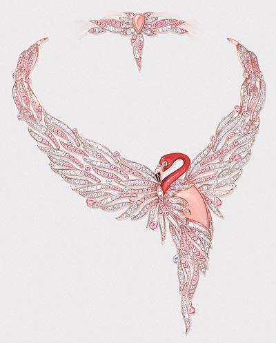 Flamant corail necklace: Gouaché
