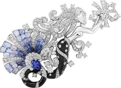 Sirène Mystérieuse clip: Vitrail Mystery Set colored sapphires, sapphire, onyx, diamonds. © Van Cleef &Arpels