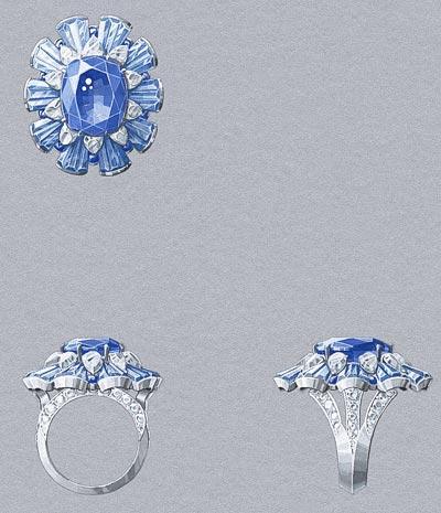 Fleur des Mers ring: One cushion-cut sapphire of14.08 carats (Sri Lanka), sapphires, aquamarines, diamonds. © Van Cleef &Arpels