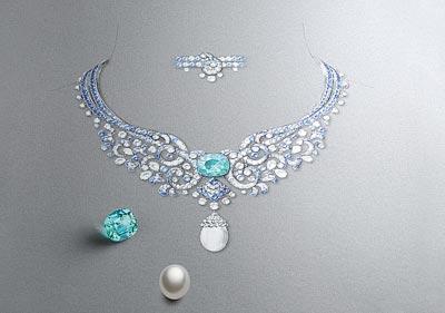 Clapotis necklace: Drawing &Gouaché
