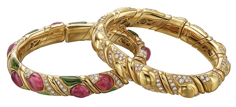 Bvlgari Collection Heritage: Naturalia Flora bracelets in gold and diamonds, and gold and colored gemstones ca 1992 - Ref.: MUS1009 MUS1011