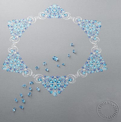 Lagune Précieuse necklace: White gold, round, baguette-cut and pear-shaped diamonds, sapphires, round, square-cut, octogonal-cut and pear-shaped aquamarines. © Van Cleef &Arpels - Drawing