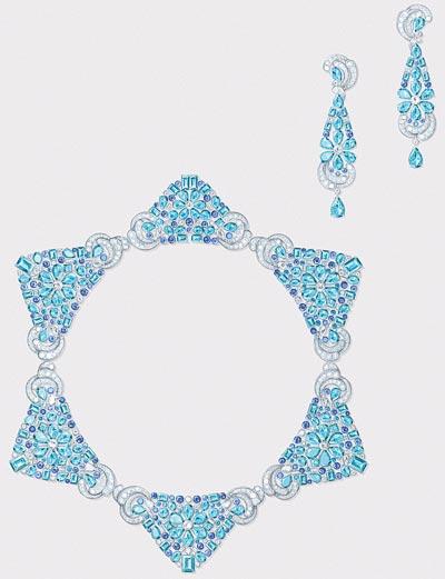 Lagune Précieuse necklace: White gold, round, baguette-cut and pear-shaped diamonds, sapphires, round, square-cut, octogonal-cut and pear-shaped aquamarines. © Van Cleef &Arpels - Gouaché