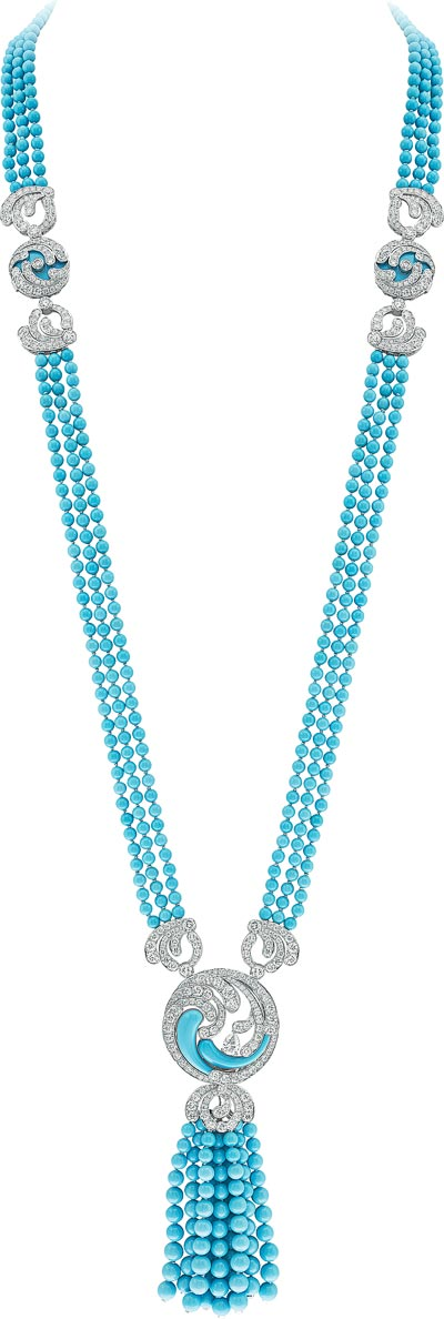 Bora Turquoise long necklace: Transformable long necklace, turquoise and diamonds. © Van Cleef &Arpels