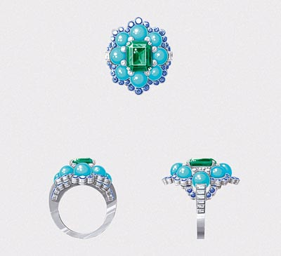 Ancône ring: White gold, round and baguette-cut diamonds, sapphires, turquoise beads, one octogonal-cut emerald of3.28 carats (Colombia). © Van Cleef &Arpels - Drawing