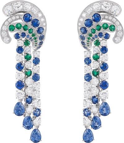 Apsyrtides earrings: Emeralds, sapphires, diamonds. © Van Cleef &Arpels