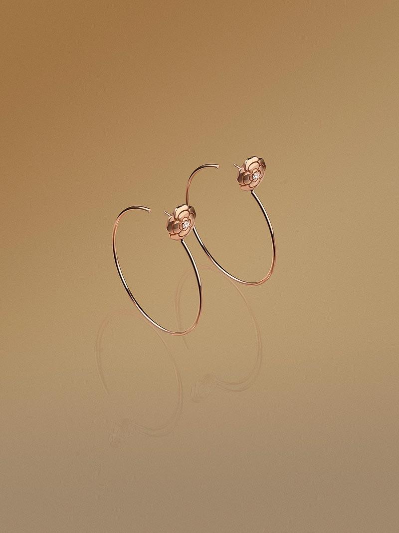 - Créoles <b>Extrait deCamélia</b> enor rose 18 carats etdiamants