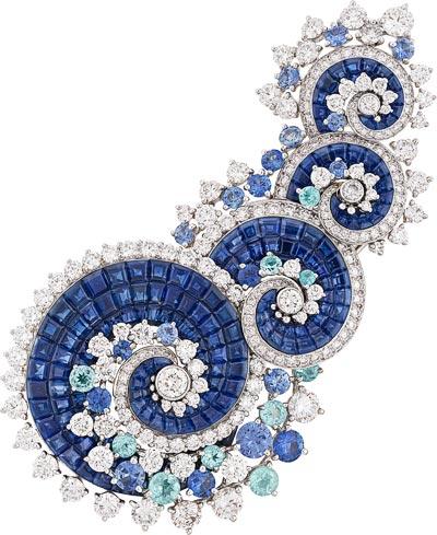 Vagues Mystérieuses clip: White gold, diamonds, Paraíba-like tourmalines, sapphires, Mystery Set sapphires. © Van Cleef &Arpels