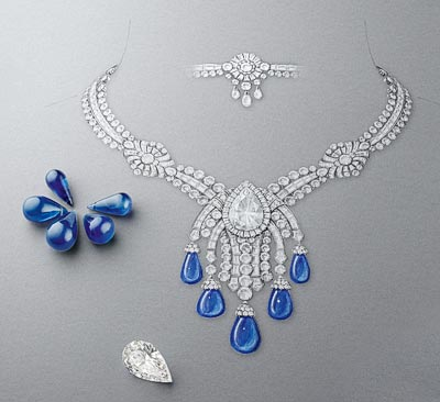 Bleu Absolu necklace: White gold, round and baguette-cut diamonds, one pear-shaped DIF diamond of 14.22 carats, 5 sapphire drops for a total of 85.86 carats (Cashmere). © Van Cleef & Arpels - Drawing