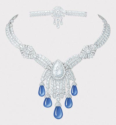 Bleu Absolu necklace: White gold, round and baguette-cut diamonds, one pear-shaped DIF diamond of 14.22 carats, 5 sapphire drops for a total of 85.86 carats (Cashmere). © Van Cleef & Arpels - Gouaché