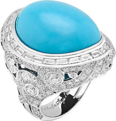 Abysse Turquoise ring: Cabochon-cut turquoise, diamonds. © Van Cleef &Arpels