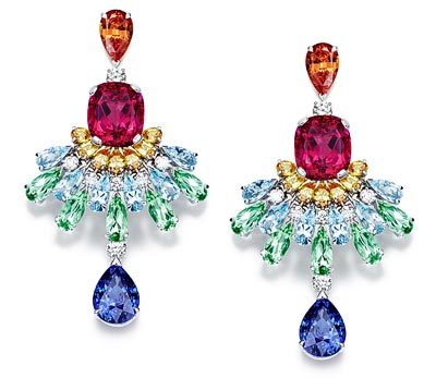 Piaget Rose Passion earrings in 18K white gold set with 14 brilliant-cut diamonds (approx. 1.50 ct), 2 pear-shaped orange garnets (approx. 4.97 ct) 14 pear-shaped yellow sapphires (approx. 3.09 ct), 12 pear-shaped aquamarines (approx. 5.34 ct), 10 pear-shaped green tourmalines (approx. 7.62 ct), 2 pear-shaped blue sapphires (approx. 13.93 ct) and 2 cushion-cut rubellites (approx. 15.64 ct) - Ref: G38LT300