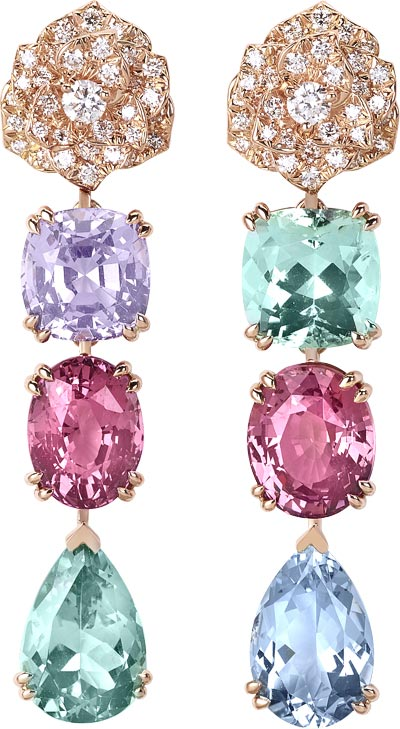 Limelight Mediterranean Garden Collection  (One of a kind piece): Earrings in pink gold set with 76 brilliant-cut diamonds (0.72ct), 1 round-cut green tourmaline (3.58ct), 2 oval cut pink spniles (7.11ct), 1 round-cut purple spinel (3.28ct), 1 pear-cut aquamarine (2.71ct) and 1 pear-cut green tourmaline (2.99ct). Ref: G38LY500