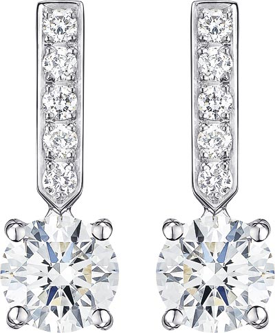 Earrings in 18K white gold set with 2 brilliant-cut diamonds (approx. 1 ct) and 10 brilliant-cut diamonds (approx. 0.14 ct). Available also in 0.6 carat. Ref.: G38B0200