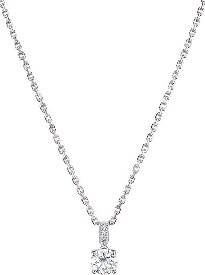 Necklace in 18K white gold set with 1 brilliant-cut diamond (approx. 0.7 ct) and 3 brilliant-cut diamonds (approx. 0.03 ct). Available also in 0.3, 0.5 and 1 carat. Ref.: G33B0300