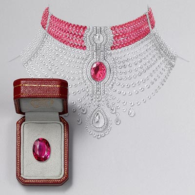 Collier Reine Makéda necklace - Platinum, one 15.29-carat oval-shaped ruby fromMozambique, one 3.51-carat D IF rose-cut diamond, one 5.10-carat D IF pear-shaped rose-cut diamond, cabochon-cut and faceted ruby beads, pear-shaped rose-cut diamonds, calibrated diamonds, brilliant-cut diamonds. The chocker ruby part and thediamond part can be worn separately.