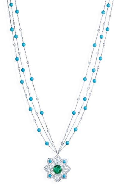 - Necklace inwhite gold - 1 emerald - turquoise beads  &diamonds <b>G37M6700</b>