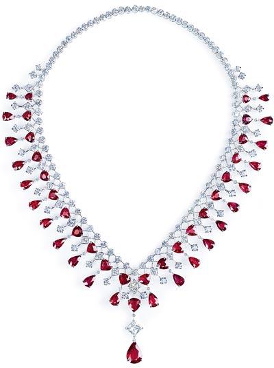 - Necklace inplatinum - rubies &diamonds <b>G37M5100</b>