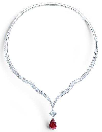 - Necklace inwhite gold - 1 ruby &diamonds <b>G37M5400</b>