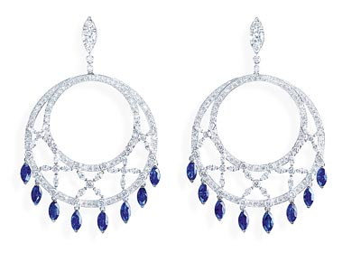 - Earrings inwhite gold - blue sapphires &diamonds <b>G38M3300</b>