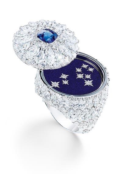 Piaget diamond and night blue enamel secret ring. Ref.: G34HC200