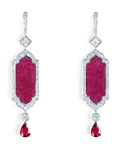 - Earrings inwhite gold - rubies &diamonds  <b>G38M4400</b>
