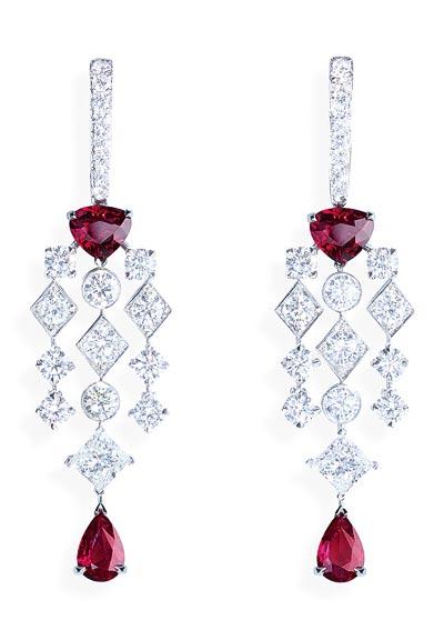 - Earrings inplatinum - rubies &diamonds <b>G38M4200</b>